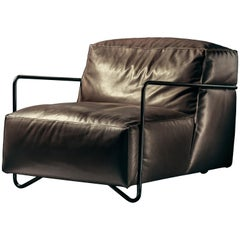 Je T'Attends Armchair in Brown Aniline Leather and Matte Black Metal