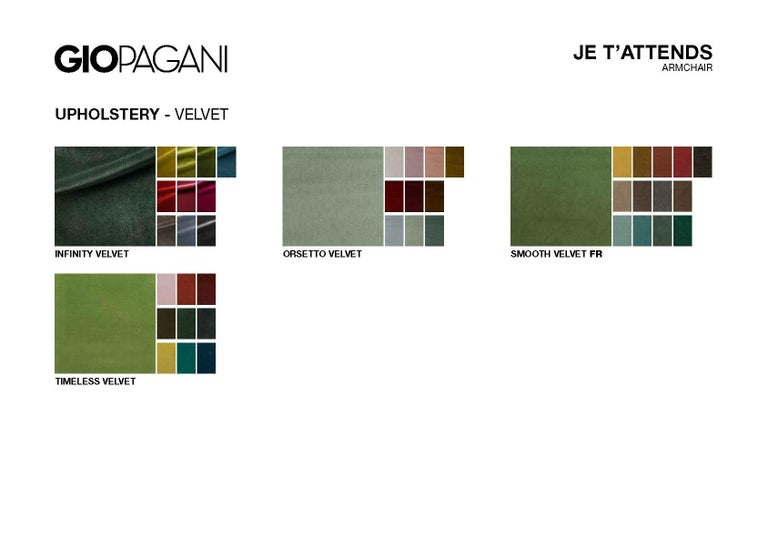 Je T'Attends Armchair in Magenta Velvet and Matte Black Metal For Sale 7