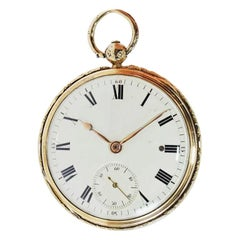 Jean-Antoine Lepine Rose Gold Ruby Cylinder French Pocket Watch, circa 1780