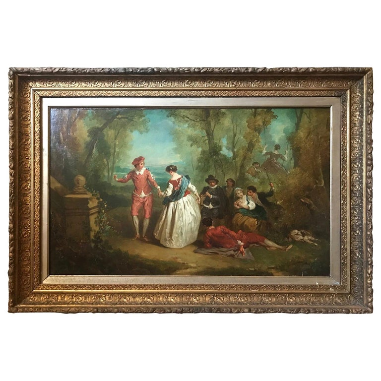 Jean Antoine Watteau, Circle of, 18th Century Large Old Master Painting, France For Sale