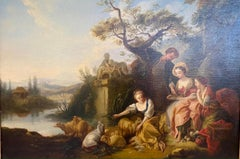 'Figures in a Garden' Classical Historical landscape with figures, sheep & goats