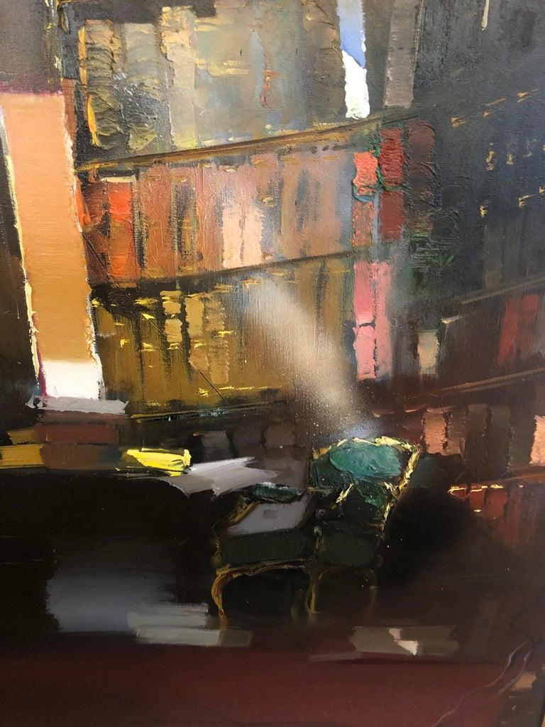 Bibliothèque du Salon Oval - Impressionist Painting by Jean Arcelin