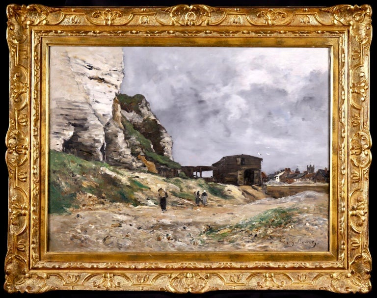 Cliffs of Le Pollet - Dieppe - Impressionist Oil, Landscape by Antoine Guillemet - Painting by Jean-Baptiste-Antoine Guillemet