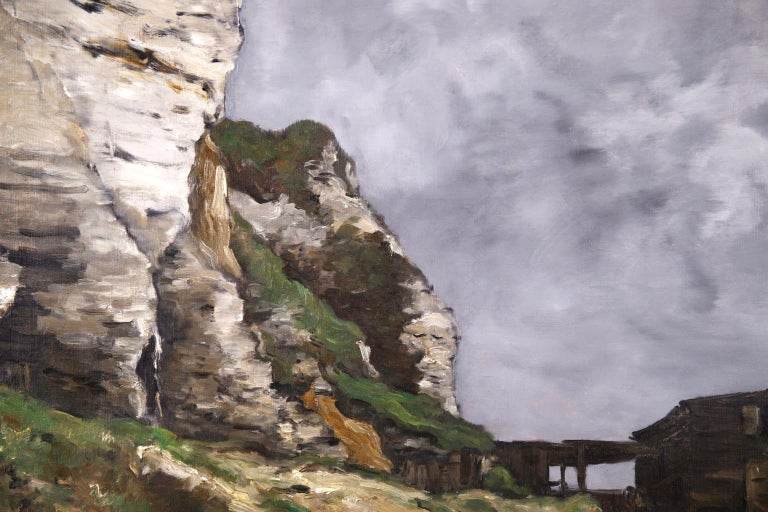 Cliffs of Le Pollet - Dieppe - Impressionist Oil, Landscape by Antoine Guillemet - Gray Figurative Painting by Jean-Baptiste-Antoine Guillemet