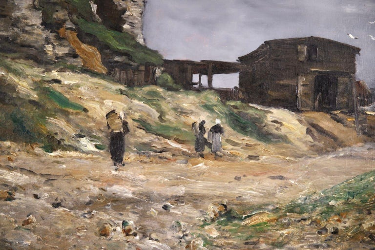 Cliffs of Le Pollet - Dieppe - Impressionist Oil, Landscape by Antoine Guillemet For Sale 3