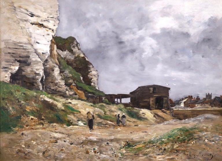 Jean-Baptiste-Antoine Guillemet Figurative Painting - Cliffs of Le Pollet - Dieppe - Impressionist Oil, Landscape by Antoine Guillemet