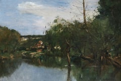 Cottages by the River - 19th Century Oil, French Landscape by J B A Guillemet