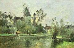 Coucher de Soleil-Moret-1899 - 19th Century Oil, Riverscape by Guillemet