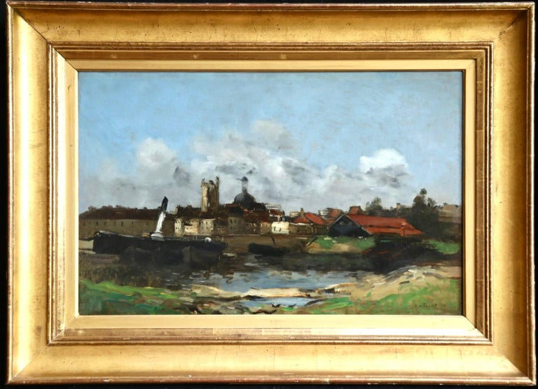 Dieppe - Impressionist Oil, French Landscape by Antoine Guillemet - Painting by Jean-Baptiste-Antoine Guillemet