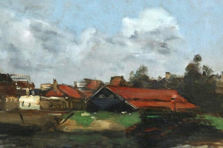 Dieppe - Impressionist Oil, French Landscape by Antoine Guillemet - Blue Landscape Painting by Jean-Baptiste-Antoine Guillemet