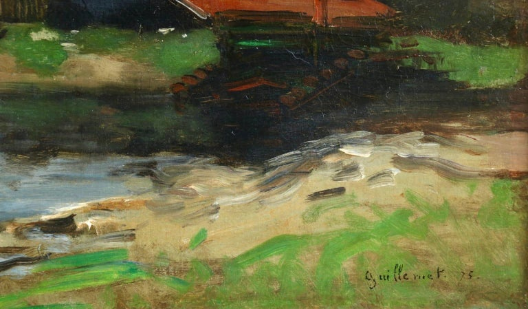 Dieppe - Impressionist Oil, French Landscape by Antoine Guillemet For Sale 3