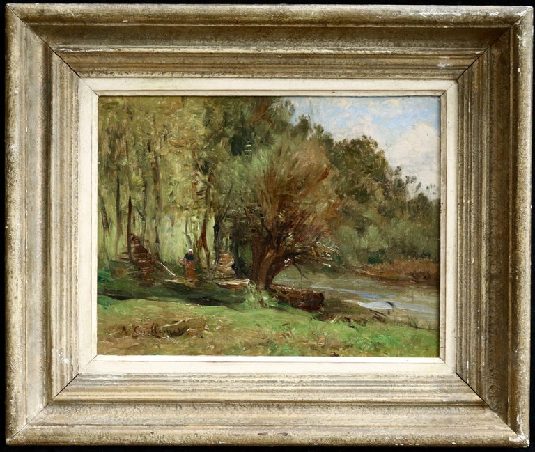 Figure by a Cottage - 19th Century Oil, Woman in River Landscape by Guillemet - Painting by Jean-Baptiste-Antoine Guillemet