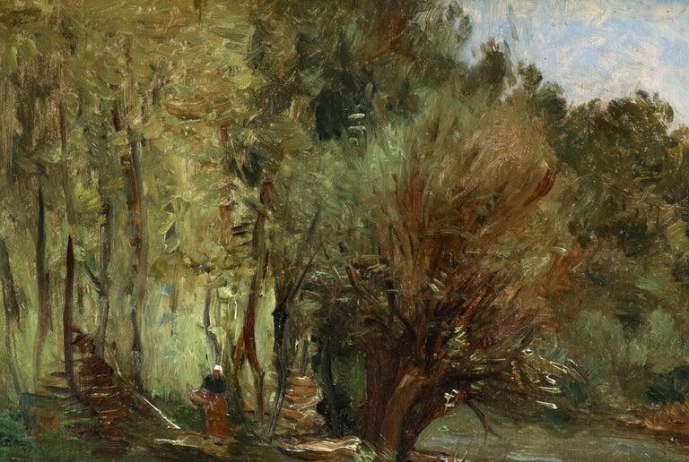 Figure by a Cottage - 19th Century Oil, Woman in River Landscape by Guillemet - Barbizon School Painting by Antoine Guillemet (1841-1918)