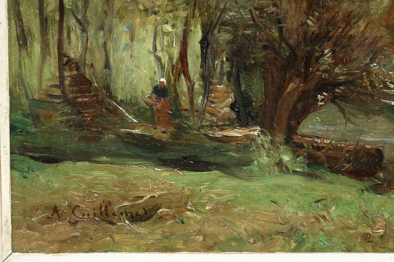 Figure by a Cottage - 19th Century Oil, Woman in River Landscape by Guillemet - Brown Landscape Painting by Antoine Guillemet (1841-1918)
