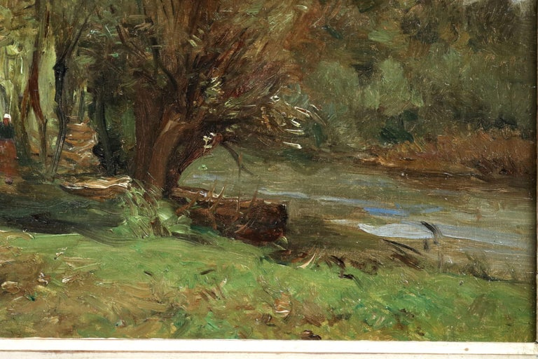 Oil on original canvas circa 1885 by Barbizon painter Jean Baptiste Antoine Guillemet depicting a woman by a river in a landscape. Signed lower right. Framed dimensions are 17 inches high by 20 inches wide.  Guillemet was a pupil of Corot and