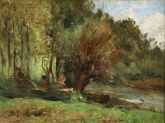 Figure by a Cottage - 19th Century Oil, Woman in River Landscape by Guillemet
