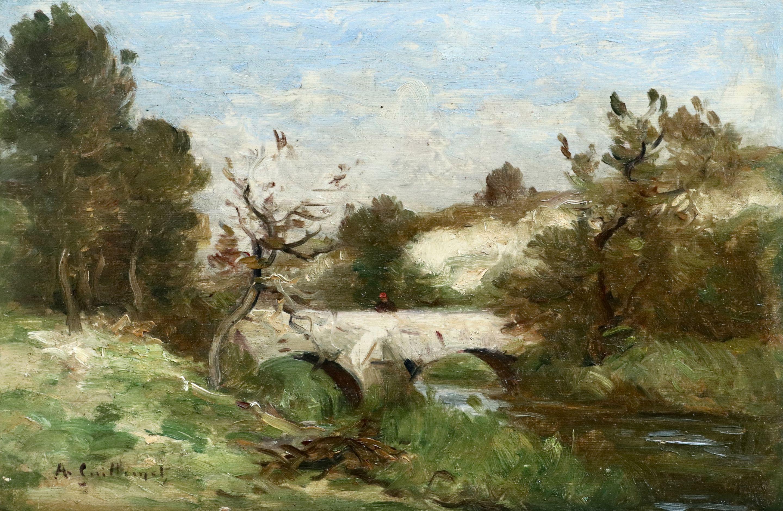 Figure on a Bridge - 19th Century Oil, Landscape Jean Baptiste Antoine Guillemet