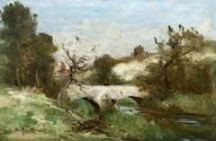Figure on a Bridge - 19th Century Oil, Landscape Jean Baptiste Antoine Guillemet