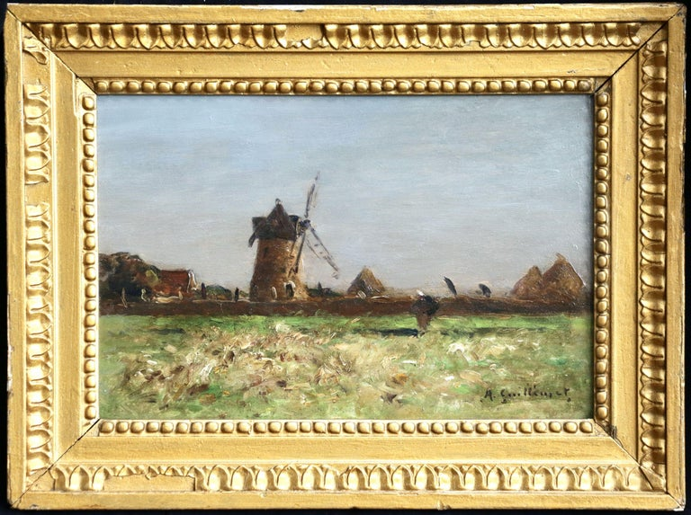 Heading Home - 19th Century Oil, Figure & Windmill in Landscape by Guillemet 2