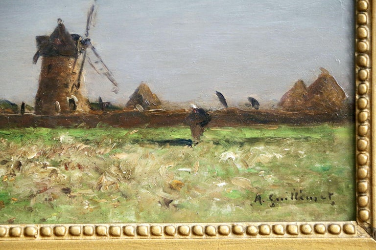 Heading Home - 19th Century Oil, Figure & Windmill in Landscape by Guillemet 3