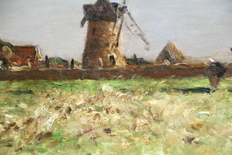 Heading Home - 19th Century Oil, Figure & Windmill in Landscape by Guillemet 4