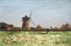 Heading Home - 19th Century Oil, Figure & Windmill in Landscape by Guillemet