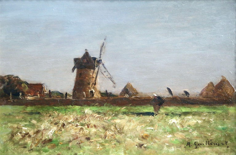 Heading Home - 19th Century Oil, Figure & Windmill in Landscape by Guillemet 1