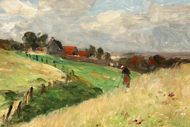 In the Fields - 19th Century Oil, Figure & Windmill in Landscape by Guillemet - Beige Landscape Painting by Jean-Baptiste-Antoine Guillemet