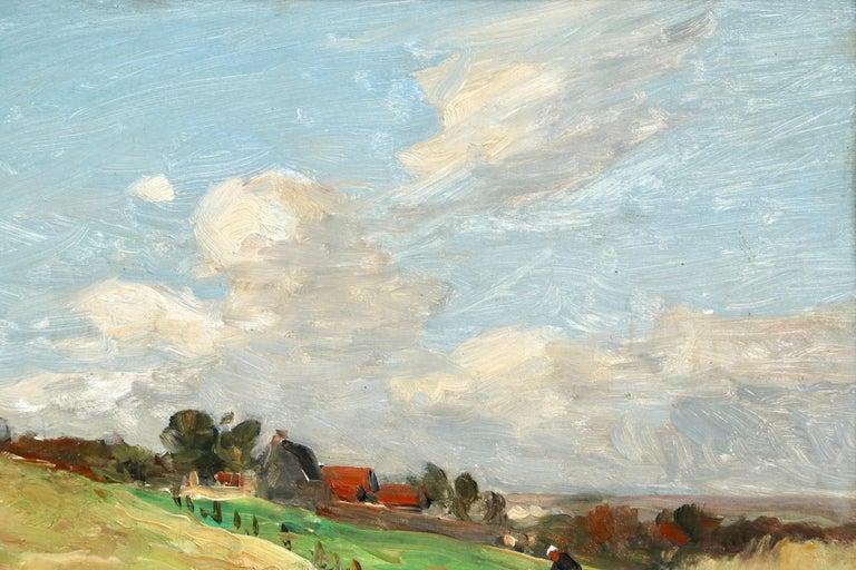 In the Fields - 19th Century Oil, Figure & Windmill in Landscape by Guillemet 1