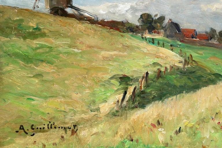 In the Fields - 19th Century Oil, Figure & Windmill in Landscape by Guillemet 2