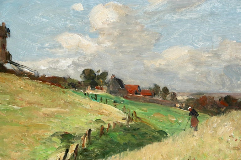 In the Fields - 19th Century Oil, Figure & Windmill in Landscape by Guillemet 3
