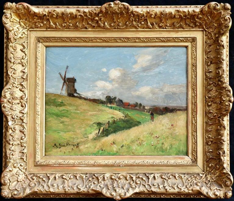 Jean-Baptiste-Antoine Guillemet Landscape Painting - In the Fields - 19th Century Oil, Figure & Windmill in Landscape by Guillemet