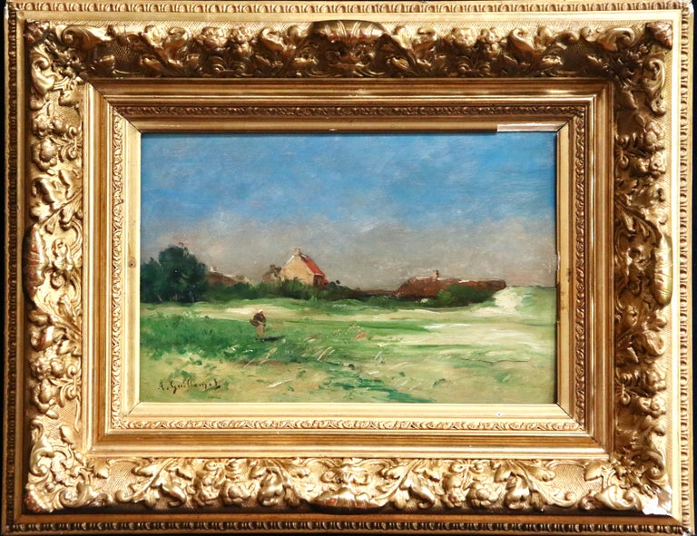 Normandy - 19th Century Oil, Figures by Cottage in Landscape - Antoine Guillemet For Sale 1