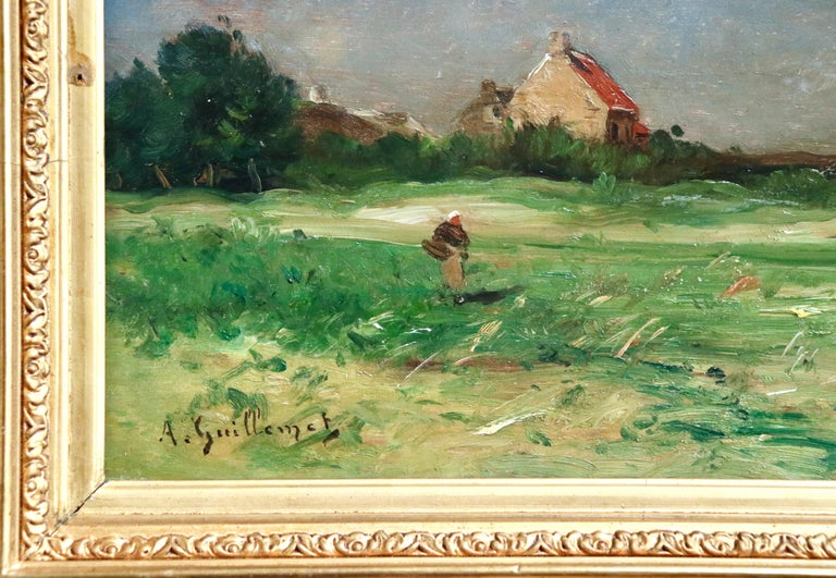 Normandy - 19th Century Oil, Figures by Cottage in Landscape - Antoine Guillemet For Sale 2