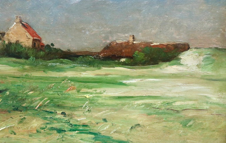 Normandy - 19th Century Oil, Figures by Cottage in Landscape - Antoine Guillemet For Sale 3