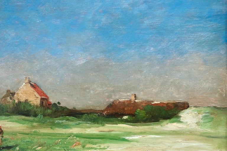 Normandy - 19th Century Oil, Figures by Cottage in Landscape - Antoine Guillemet For Sale 4