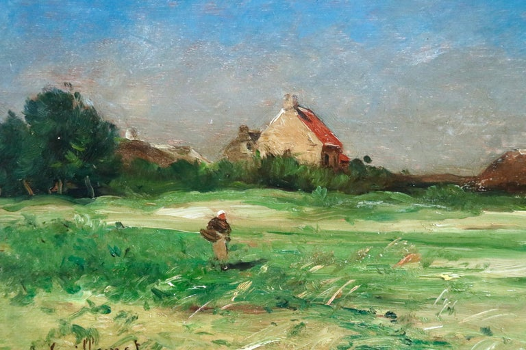 Normandy - 19th Century Oil, Figures by Cottage in Landscape - Antoine Guillemet For Sale 5
