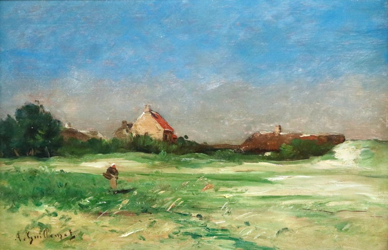 Oil on panel circa 1880 by Jean-Baptiste-Antoine Guillemet depicting a lady walking past cottages near the coast in Normandy. Signed lower left. Framed dimensions are 16 inches high by 20.5 inches wide.  Little is known of Antoine Guillemet's