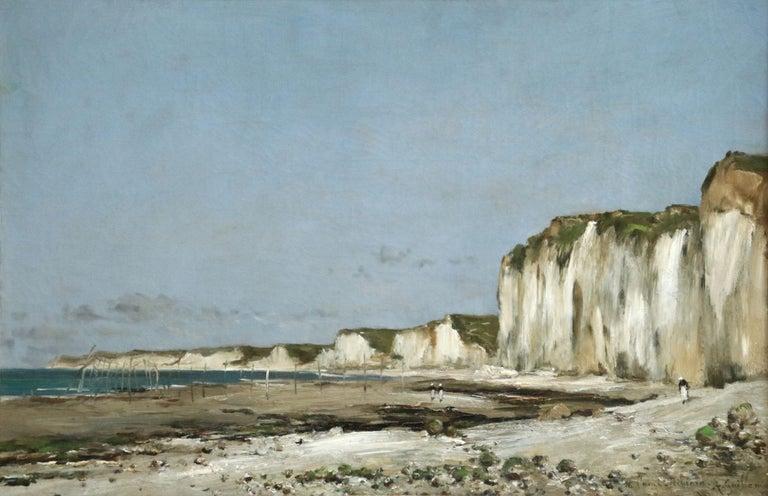 Saint-Vaast-La-Hougue, Normandy- 19th Century Oil, Coastal Landscape - Guillemet - Gray Figurative Painting by Jean-Baptiste-Antoine Guillemet