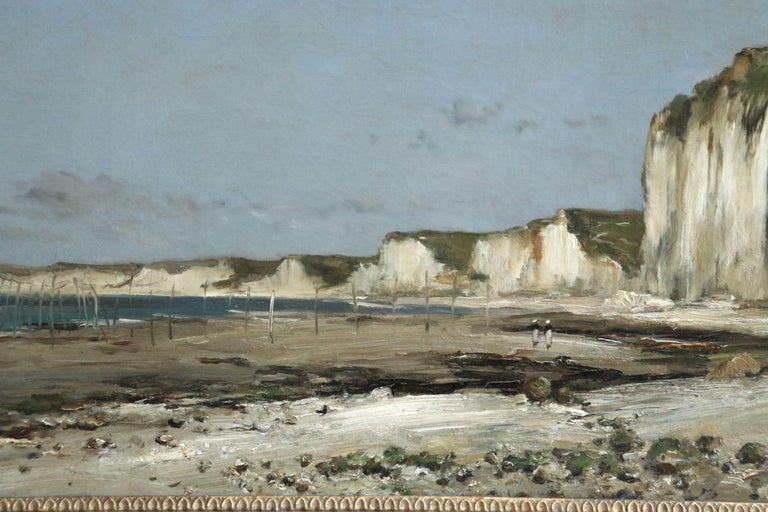 A beautiful large signed oil on canvas by Jean Baptiste Antoine Guillemet depicting figures on the beach at Saint-Vaast-La-Hougue, Normandy. The work is signed lower right and measures 20 x 29 inches framed. In very nice original