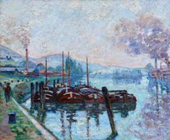 Morning Rouen - Impressionist Oil, Boats on River Landscape by Armand Guillaumin
