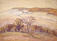 Paysage au Vaudemont - Impressionist Pastel, Landscape by Armand Guillaumin