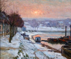 Snow on the Seine - Impressionist Oil, Winter Riverscape by Armand Guillaumin