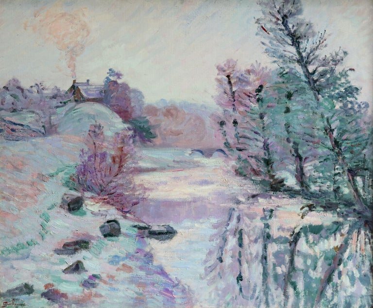 Soleil Blanche - 19th Century Oil, River in Snowy Winter Landscape by Guillaumin - Impressionist Painting by Jean Baptiste-Armand Guillaumin