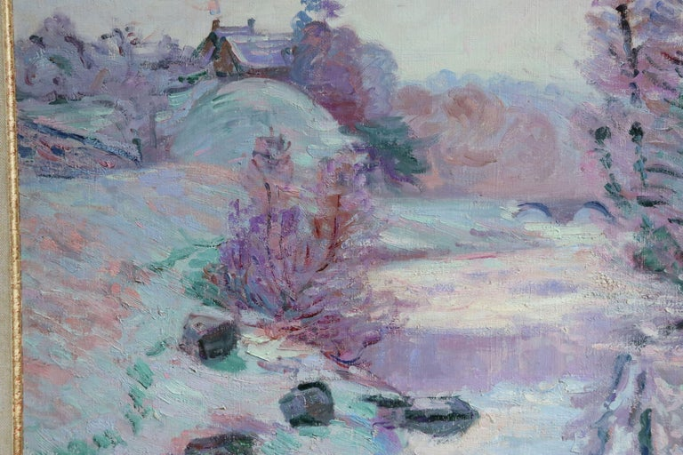 Soleil Blanche - 19th Century Oil, River in Snowy Winter Landscape by Guillaumin For Sale 1