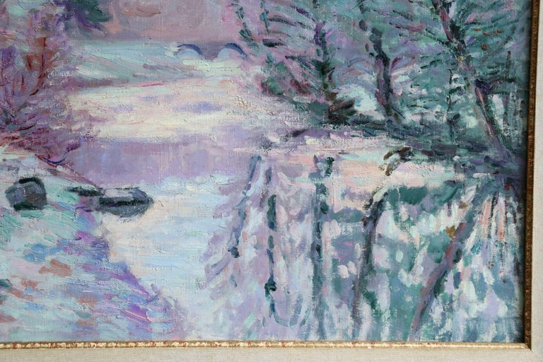 Soleil Blanche - 19th Century Oil, River in Snowy Winter Landscape by Guillaumin For Sale 5