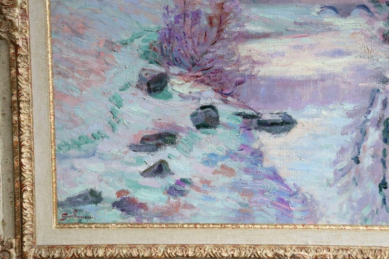 Soleil Blanche - 19th Century Oil, River in Snowy Winter Landscape by Guillaumin For Sale 4