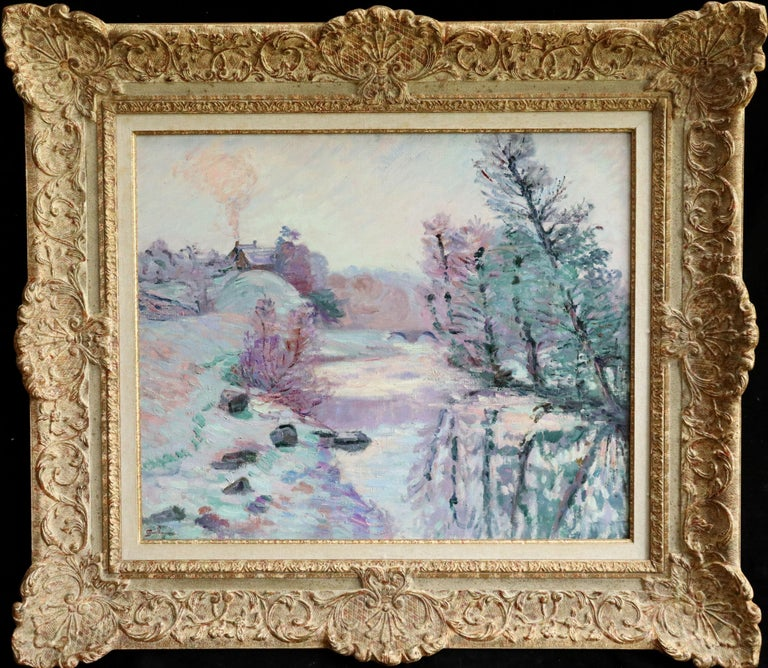 Soleil Blanche - 19th Century Oil, River in Snowy Winter Landscape by Guillaumin - Painting by Jean Baptiste-Armand Guillaumin