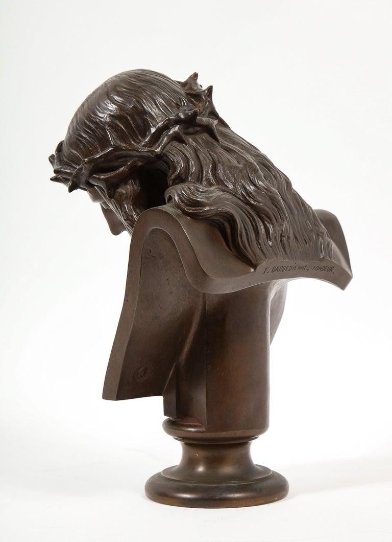 Jean-Baptiste Auguste Clesinger, French Bronze Bust of Jesus Christ, Barbedienne For Sale 5