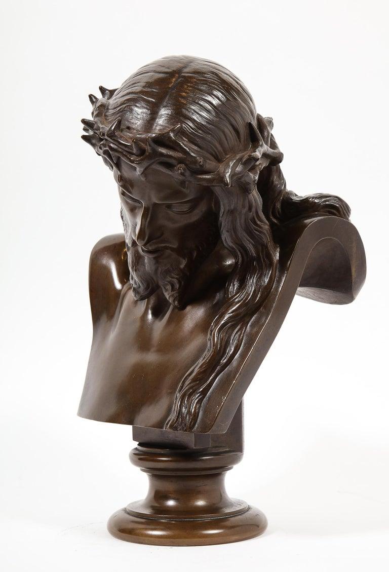 Jean-Baptiste Auguste Clesinger, French Bronze Bust of Jesus Christ, Barbedienne For Sale 9
